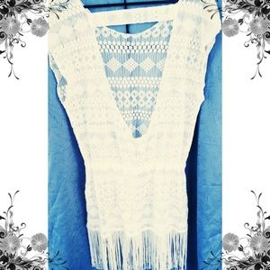 Dresses & Skirts - White Lace Fringe multi functional Dress